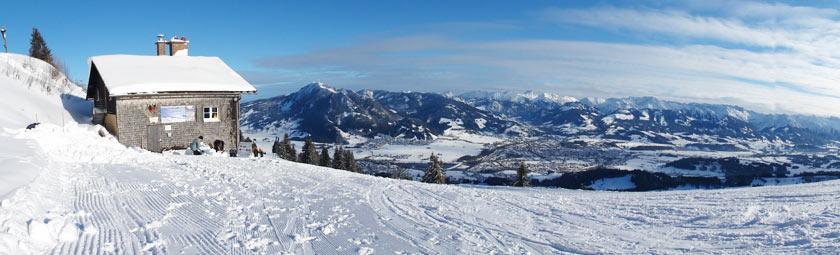 Unser Schneeschuh-Test Berghütte  auf 1450 Meter